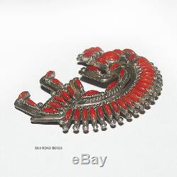 1 exquisite vintage h & a bowekaty zuni rainbow man coral pendant/pin #123