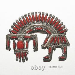 1 exquisite vintage h & a bowekaty zuni rainbow man coral pendant/pin #123d