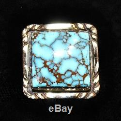 14k Gold Navajo & Spiderweb Turquoise Tie Tack/Pin by Ed Kee