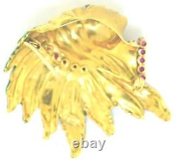 18K Yellow Gold, Ruby & Enamel Native American Head Brooch/Pin