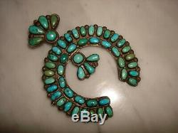1930's Navajo Zuni Cerrillos Turquoise Cluster Naja Sterling Pendant Pin