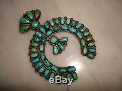 1930's Navajo Zuni Naja Cerrillos Turquoise Cluster Cast Sterling Pendant Pin