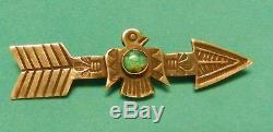 1930s FRED HARVEY ERA NAVAJO STERLING SILVER & TURQUOISE THUNDERBIRD ARROW PIN