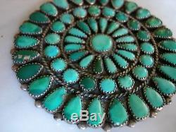 1940's Zuni Navajo Cerrillos Turquoise Cluster Sterling Pin Pendant 3.25 Inch