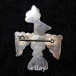 1950s Sterling Silver & Multi-Stone Zuni Mosaic Inlay Thunderbird Pin