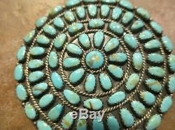 2 1/2 VERY FINE Vintage Navajo BEGAY Turquoise Cluster Pin & Pendant