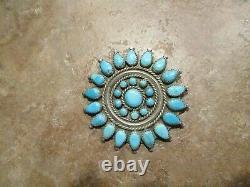 2 1/4 OLDER Vintage Zuni / Navajo PETIT POINT Turquoise Cluster Pin