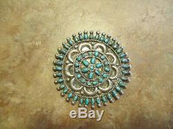 2 3/4 Marvelous OLD ZUNI Sterling Silver PETIT POINT Turquoise Cluster Pin