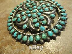2 3/4 OLD PAWN ZUNI Sterling Silver Premium PETIT POINT Turquoise Cluster Pin