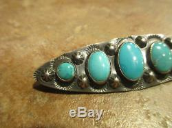 2 3/8 Extra Fine OLD Fred Harvey Era Navajo Graduated Sterling Turquoise Pin