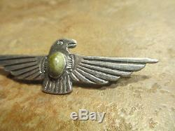 2 3/8 FINE Old Fred Harvey Era Navajo Sterling Green Turquoise THUNDERBIRD Pin