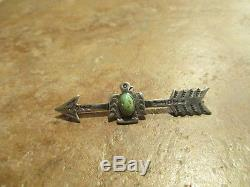 2 5/8 EXTRA FINE OLD Fred Harvey Era Sterling Turquoise THUNDERBIRD ARROW Pin