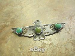 2 5/8 EXTRA OLD Fred Harvey Era Navajo Sterling Turquoise THUNDERBIRD Pin