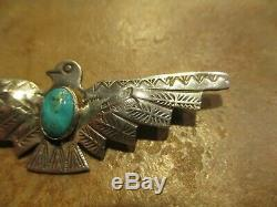 2 5/8 REAL OLD Fred Harvey Era Navajo Sterling Turquoise THUNDERBIRD Pin