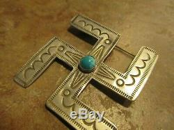 2 Large EXTRA OLD Fred Harvey Era Navajo Sterling Turquoise WHIRLING LOG Pin