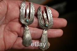 2 Old Juan Singer Navajo Sterling Silver Turquoise Stone Peyote Bird Brooch Pins