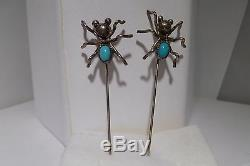 2 Spider Hair Pins Turquoise Old Pawn Sterling Silver Brooch Navajo Handmade
