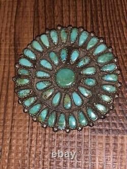 2 Wide Old Pawn Native Zuni Coin Silver Petit Point Turquoise Brooch / Pin