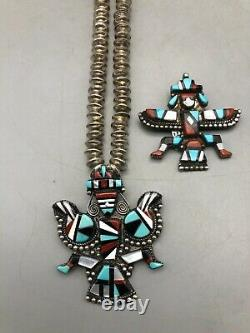 2 Zuni Inlay Pins/Pendants Plus Sterling Silver Necklace