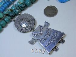 3&3/8 NAVAJO Bobby Frances Stamped STERLING Silver KACHINA Pin PENDANT signed