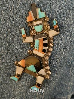 3.5 Vintage Zuni Rainbow Man Kachina Dancer Sterling Turquoise Inlay Pin 30g