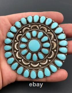 3 Vtg Navajo Sterling Silver Petit Point Cluster Turquoise Pin Brooch Pendant