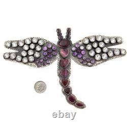 7 FEDERICO JIMENEZ Dragonfly BROOCH HEART OF TEXAS Sterling Silver XXXL PIN