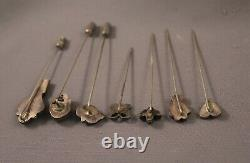 7 Rare Old Pawn Silver Navajo And Zuni Hat Pins