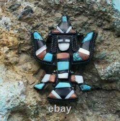 A Beautiful Vintage Zuni Inlay Pin or Brooch With A Knifewing Design
