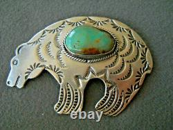 ALBERT CLEVLAND Indian Navajo Turquoise Sterling Silver Stamped Bear Pin Brooch