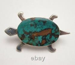 AMAZING TURQUOISE STONE NAVAJO SILVER TURTLE PIN, 2.25 inch VINTAGE BROOCH