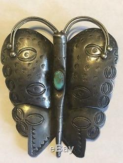 ANTIQUE American INDIAN Navajo Sterling Silver & Turquoise Butterfly Brooch