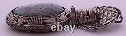 Acoma kachina sterling Turquoise, Coral reversible huge pendant & pin Tony Chino