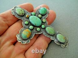 Al & Jeanette Navajo Brown Manassa Turquoise Cluster Sterling Silver Pendant Pin
