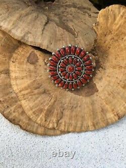 Alice Quam Coral Cluster Pin/pendant Gorgeous Coral Cabochons Vtg Zuni