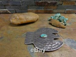 Amazing Huge Navajo Thunderbird Sterling Royston Turquoise Feathers Brooch Pin