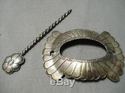 Amazing Vintage Navajo Sterling Silver Hand Tooled Barrette Hair Clip In