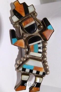 Amazing Zuni Lambert Homer Inlay Rainbow Man Pin Pendant Multi Stone Inlay