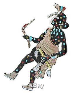 Andrea Lonjose, Pendant, Pin, Zuni Fire God, Multi Stone Inlay, Handmade, 3.25