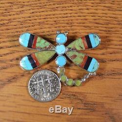 Angus Ahiyite Zuni NA Multi-Stone Turquoise Inlay Dragonfly Pin Pendant