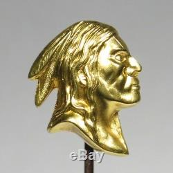 Antique Art Nouveau 14K Gold Native American Indian Brave/Chief Stick Pin