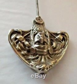 Antique Art Nouveau Chief Hatpin Sterling Silver Native American Hat Pin Signed