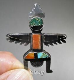 Antique Fred Harvey Era Native American Zuni Sterling Silver Inlay Kachina Pin