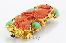 Antique Japanese Art Nouveau 18k Yellow Gold Carved Coral Jadeite Pin