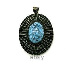 Antique NAVAJO 925 Sterling Silver Spiderweb Matrix Turquoise Pendant Brooch-Pin