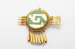 Antique Native American Indian Turquoise ARROW 14k Gold Brooch Pin Pendant 44g