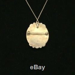 Antique Native American Sterling Pendant/Pin with 12 necklace by Zuni signed