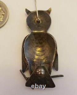 Antique Native American Sterling Silver Owl Pin