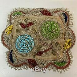 Antique Victorian Velvet Beaded Pin Cushion flowers Native American Indian