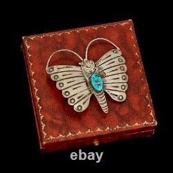 Antique Vintage 925 Sterling Silver Native Navajo Turquoise Butterfly Pin Brooch